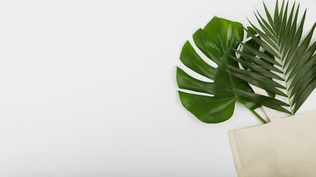 Płaskie położenie torby wielokrotnego użytku z liśćmi