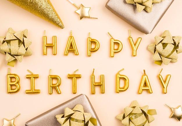 Płaskie świeckie złote dekoracje urodzinowe
