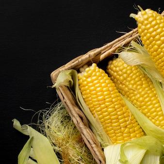 Płaskie świeża kompozycja świeżej kukurydzy z miejsca na kopię