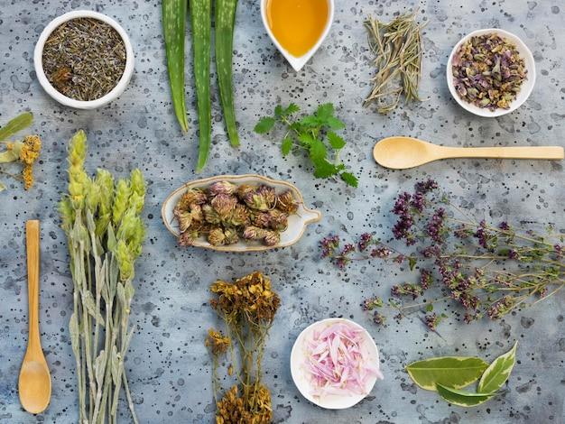 Płaskie układanie przypraw leczniczych i ziół