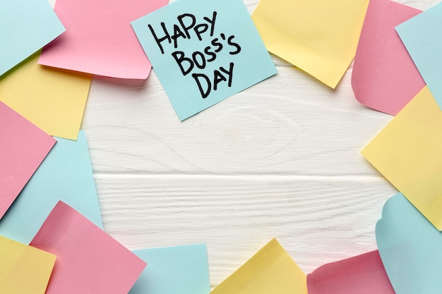 Płaskie ukształtowanie koncepcji dzień szefa z miejsca kopiowania