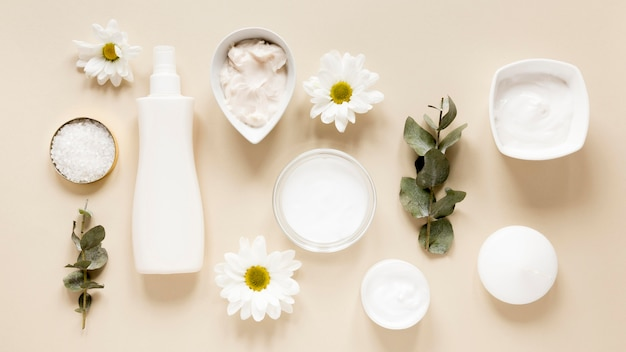 Płaskie ukształtowanie koncepcji kosmetyków naturalnych