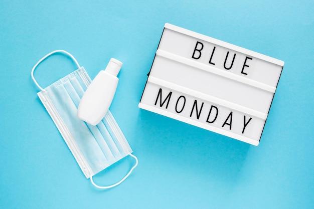 Płaskie ukształtowanie koncepcji niebieski poniedziałek
