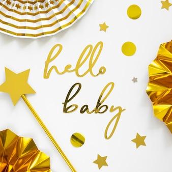 Płaskie ukształtowanie koncepcji pięknej baby shower