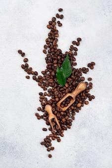 Płaskie ukształtowanie koncepcji ziaren kawy