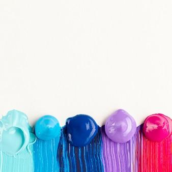 Płaskie ukształtowanie kropli farby z miejsca kopii