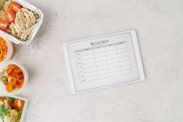 Płaskie ukształtowanie szablonu planu menu żywności
