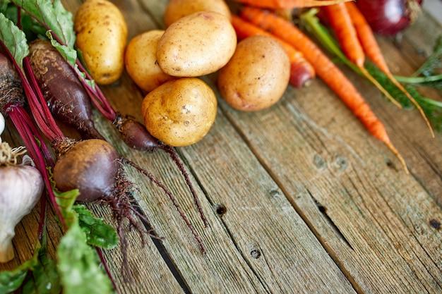 Płaskie ułożenie asortymentu świeżych warzyw korzeniowych, bio zdrowej, ekologicznej żywności na drewniane tła, styl rynku wiejskiego, produkty ogrodowe, dieta wegetariańska, czyste jedzenie.