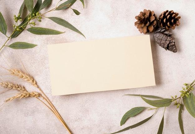 Płaskie ułożenie czystego papieru z szyszkami i jesiennymi liśćmi