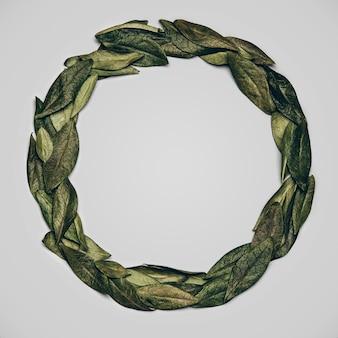 Płaskie ułożenie na okrągło wykonane z zielonych liści naturalnych na szaro.