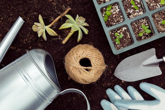 Płasko leżące narzędzia ogrodnicze i rośliny na ziemi