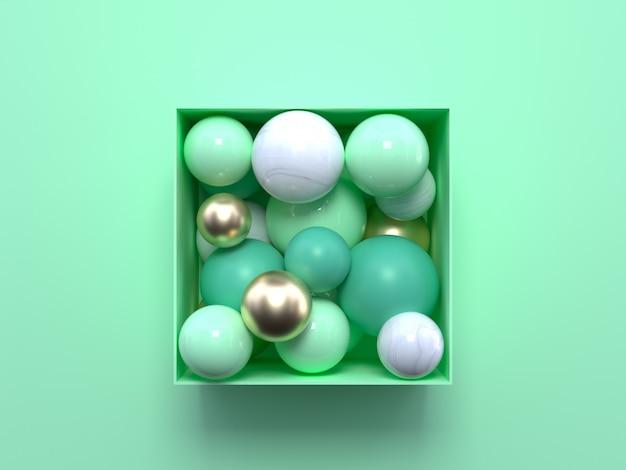 Płasko układająca się pastelowa zielona scena z abstrakcyjnymi zielonymi i białymi geometrycznymi kształtami