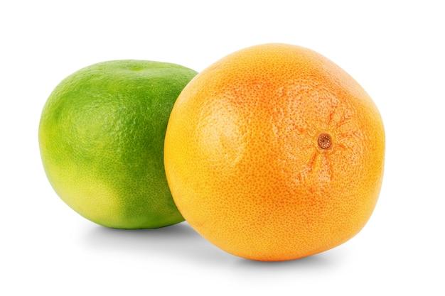 Plasterek cytrusów, pomarańcza, cytryna, limonka, na białym tle