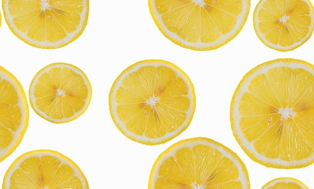 Plasterek cytryny izolować wzór. widok z góry z cytryną na białym tle.
