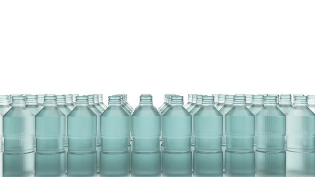 Plastikowa butelka do renderowania 3d zawartości z recyklingu.