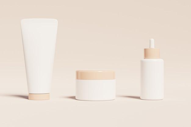 Plastikowa butelka, tubka i słoiczek na produkty kosmetyczne na beżowej powierzchni
