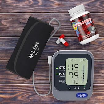 Plastikowa butelka z tabletkami podnoszącymi ciśnienie krwi i cyfrowym ciśnieniomierzem z mankietem na drewnianym stole. renderowanie 3d