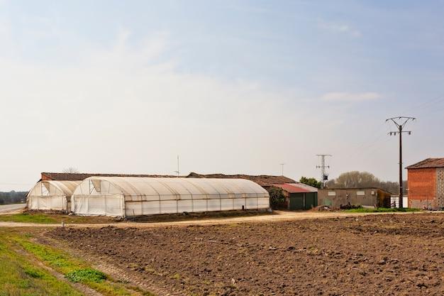 Plastikowa szklarnia rolnicza w letnim ogrodzie rolniczym w estremadura