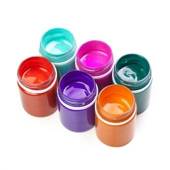 Plastikowe butelki z farbą do art