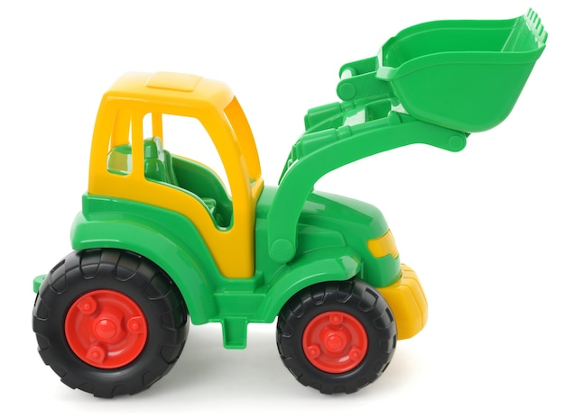 Plastikowe zabawki dla dzieci, żółto-zielony buldożer na białym tle