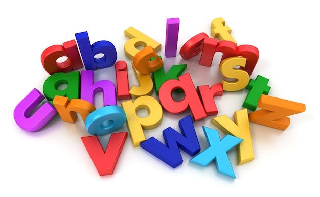 Plastikowy wielokolorowy alfabet na neutralnym tle