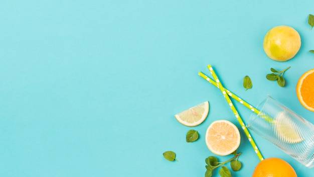 Plastry świeżych owoców między ziołami i szkłem