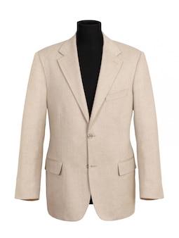 Płaszcz firmowy w kolorze złamanej bieli na czarnym manekinie