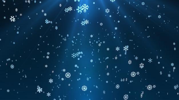 Płatek śniegu spada. bożenarodzeniowy powitania tło z płatkami śniegu