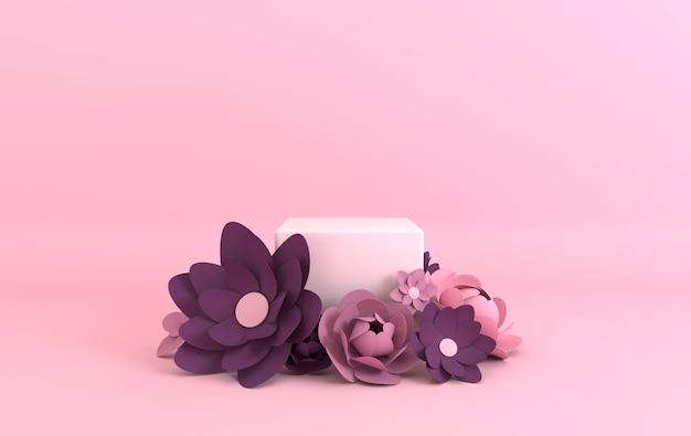 Platforma podium z papierowymi kwiatami do prezentacji produktu