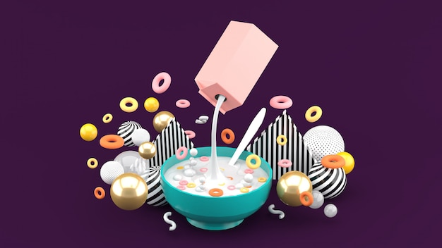 Płatki i mleko należą do kolorowych kulek na fioletowej przestrzeni