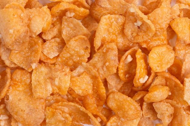 Płatki kukurydziane i tekstury, płatki zbożowe płatki śniadaniowe na poranne śniadanie
