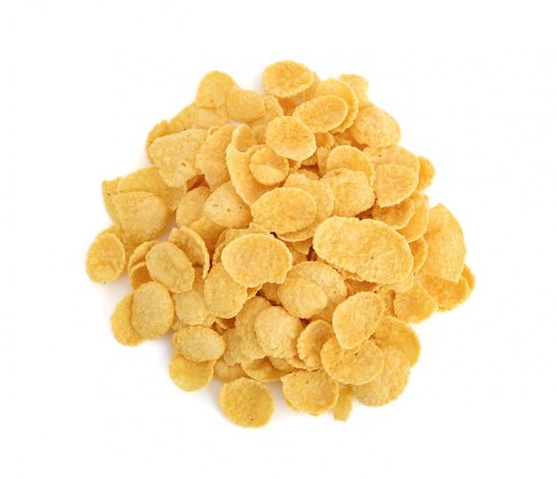 Płatki kukurydziane płatki na białym tle