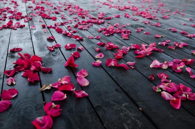 Płatki róż na ciemnej drewnianej podłodze