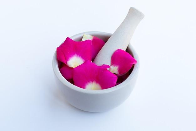 Płatki róż w porcelanowym moździerzu z tłuczkiem na białym tle.