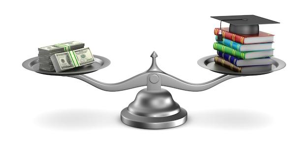 Płatna edukacja na białym tle. izolowane ilustracji 3d