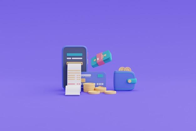 Płatność cyfrowa i koncepcja zwrotu gotówki online, smartfon, stos monet, karta kredytowa, renderowanie portfela.3d.