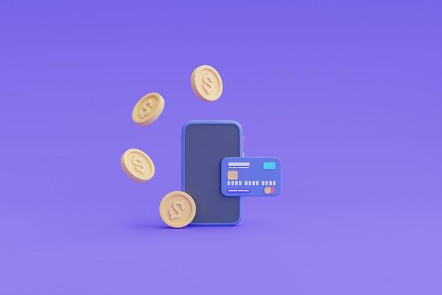 Płatność cyfrowa i koncepcja zwrotu gotówki online, telefon, pływające monety, renderowanie card.3d.