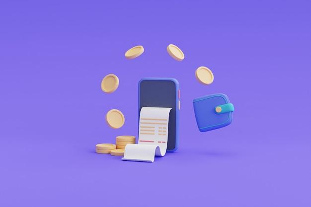 Płatność cyfrowa i koncepcja zwrotu gotówki online, telefon, pływające monety, renderowanie wallet.3d.
