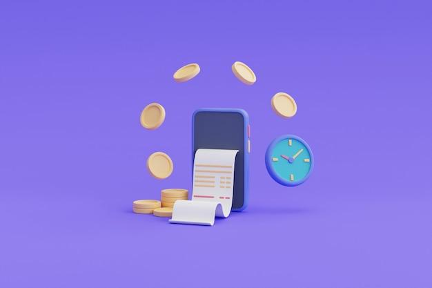 Płatność cyfrowa i koncepcja zwrotu gotówki online, telefon, pływające monety, renderowanie watch.3d.