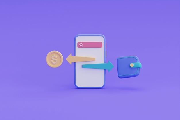 Płatność przelewem online, koncepcja transakcji bankowości mobilnej. ilustracja renderowania 3d.