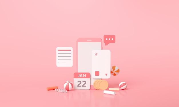 Płatność renderowania 3d za pomocą koncepcji karty kredytowej. bezpieczna transakcja płatności online za pomocą smartfona.