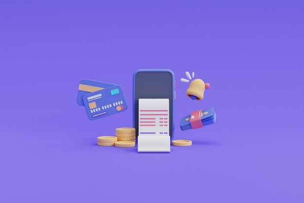 Płatności cyfrowe i koncepcja zwrotu gotówki online, smartfon, stos monet, karta kredytowa, rachunek, money.3d render.