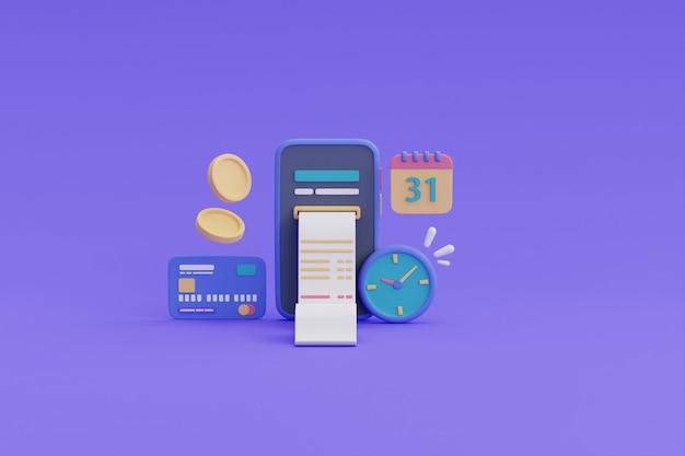 Płatności cyfrowe lub koncepcja usługi cashback online, smartfon, pływające monety, karta kredytowa, kalendarz, zegarek i rachunek .3d render.