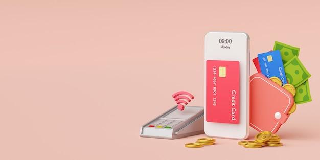 Płatności zbliżeniowe za pomocą technologii nfc, bezprzewodowe płatności kartą kredytową lub portfelem pieniężnym na renderowaniu 3d smartfona