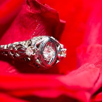 Platynowy pierścionek z diamentem na czerwonej róży, zbliżenie