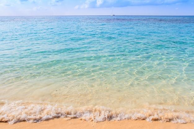Plaża, a na niebie piękna tropikalna wyspa