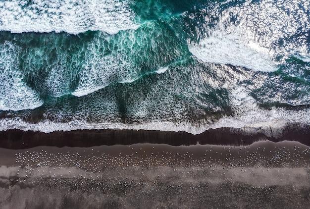 Plaża halaktyr. kamczatka. federacja rosyjska. ciemna, prawie czarna piaszczysta plaża oceanu spokojnego.