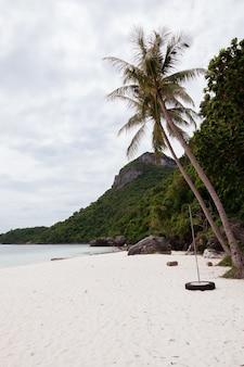 Plaża na tropikalnej wyspie. czysta niebieska woda, piasek, chmury.