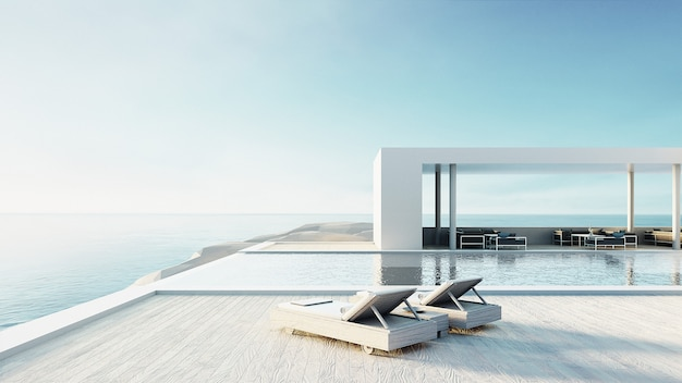 Plaża na zewnątrz basen i luksusowe wnętrze / rendering 3d