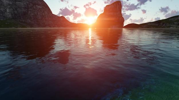 Plaża o zachodzie słońca między skałami